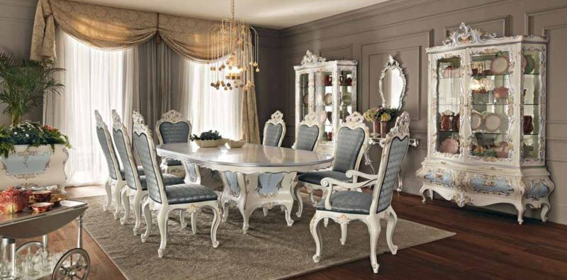 The Blue Dining Room Set Features A Large Oval Pedestal Table With Inlaid Accents Six Side Chairs Two Arm And China Cabinet