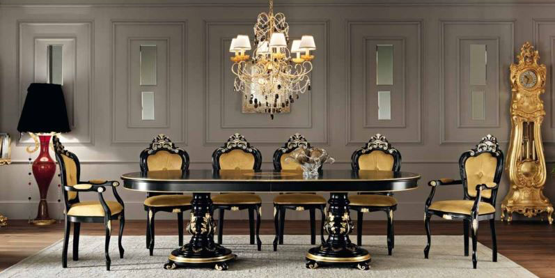 It Features A Double Pedestal Table With Black Laquer And Gold Leaf Trim The Set Also Inclused Eight Side Chairs Two Armchairs