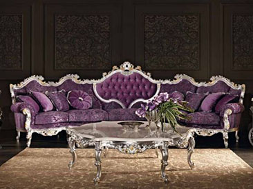 Superb The Purple Living Room Set Features A Curved Sofa With Plush Purple Velvet  And Silver Leaf. It Also Includes A Large Hexagonal Coffee Table With A  Marble ...